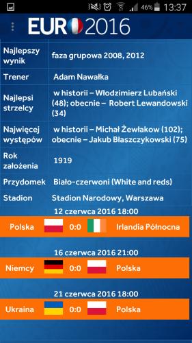 Aplikacja Euro 2016 na telefon.