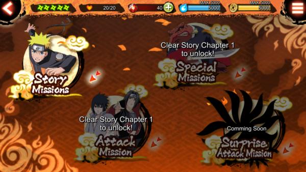 Naruto x Boruto Ninja Voltage wybór trybu gry